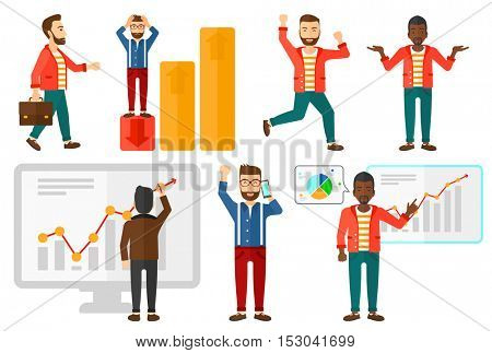 Stressed bankrupt businessman. Man clutching head because of business bankruptcy. Businessman unaware what to do with business bankruptcy. Set of vector illustrations isolated on white background.