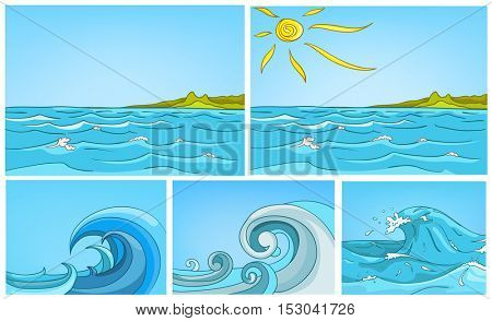 Hand drawn vector cartoon set of sea landscapes. Colourful cartoons of sea or ocean backgrounds. Vector cartoon set of sea or ocean with blue waves. Illustrations of huge curling stormy ocean waves.