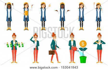 Successful business woman with arms up. Happy young business woman with arms up celebrating her success in business. Business success concept. Set of vector illustrations isolated on white background.