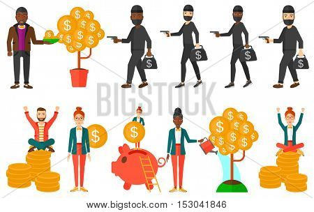 Businessman investing in future financial safety. Financier multiplying his profit. Businessman taking care of his finances. Businessman saving finances. Set of vector illustrations isolated on white
