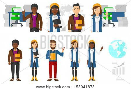 Businessman taking part in global business. Businessman holding a folder on the background of globe. Global business, globalization concept. Set of vector illustrations isolated on white background.