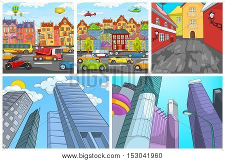 Hand drawn cartoon set of urban architecture. Colourful cartoons of city backgrounds. Cartoon backgrounds of modern cities with skyscrapers. Vector cartoon set with modern cityscapes. Cartoon of