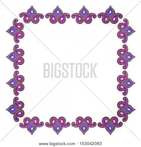 Decorative Indian paisley design border. Embellished Indian design.