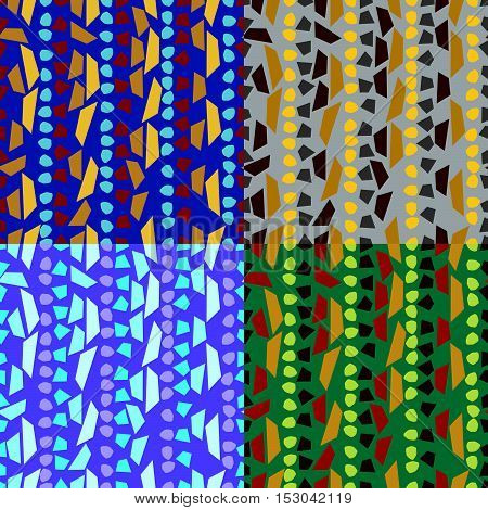 Set of vector seamless patterns in various colors