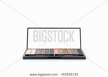 Decorative Cosmetic set eyeshadow on white background.