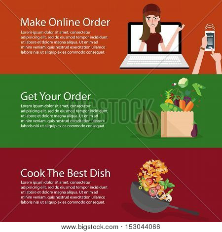 order online groceries get the vegetable and cook it banner set vector