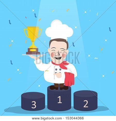 chef winner get trophy career top achievement vector