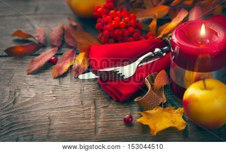 Thanksgiving dinner, Thanksgiving Background. Served table. Thanksgiving table served, decorated with bright autumn leaves. Table setting