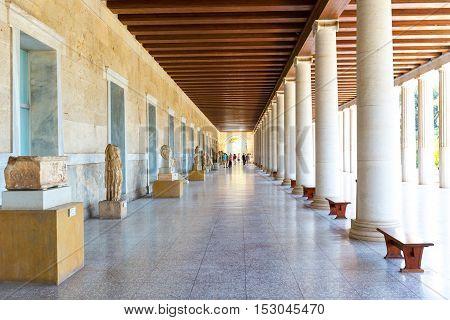 Athens, Greece - October 14, 2016: Columns perspective of Stoa of Attalos in Ancient Agora, Athens Greece