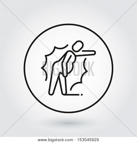 Line icon of person in pain. Label drawn in outline style. Delivery care concept. Simple black line logo for websites, mobile apps and other design needs. Vector contour pictograph