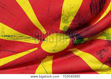 3D Rendering Of A Macedonia Flag Waving