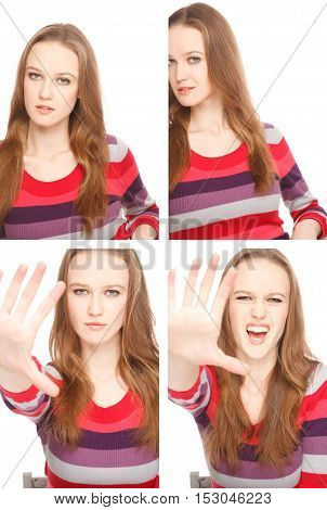 Four images of a young woman in Photo Boothexpressing different emotions