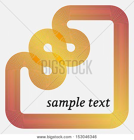 Vector Frame with Geometric Stripy Line.  Vector Background.