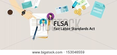 FLSA Fair Labor Standards Act paper employee vector