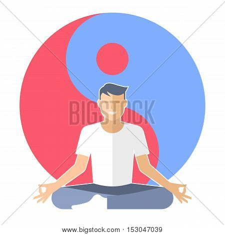 Young man meditates in the lotus pose. Male character is sitting on the yin-yang sign background. Flat vector concept illustration of yoga zen and relaxation. Design element for buddhism infographic