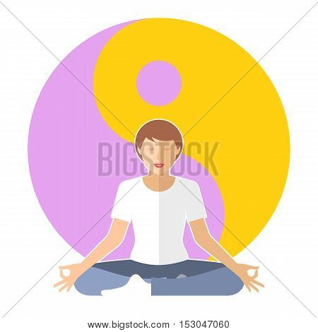 Young woman meditates in the lotus pose. Female person is sitting on the yin-yang sign background. Flat vector concept illustration of yoga zen relaxation. Design element for buddhism infographic.