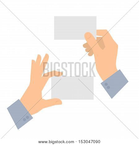 Two men's hands are holding business cards. Template flat illustration of businessman's hands and blank cards. Vector isolated on white background design elements for infographics presentations.