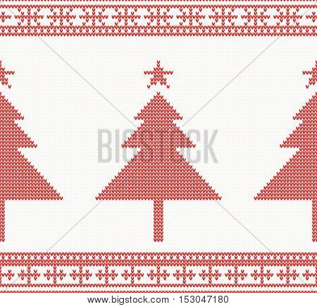 Christmas Knitted Seamless Background with Tree. Vector Illustration. Christmas concept for banner, placard, billboard or web site. New Year retro greeting card. Image for invitation