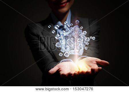 Technology integration concept . Mixed media