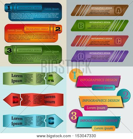 Set of Vector illustration infographic template with step. Colorful bookmarks and banners for text.