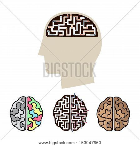 Vector icons of human brain activity. Concept for intellectual work, productivity and creativity.