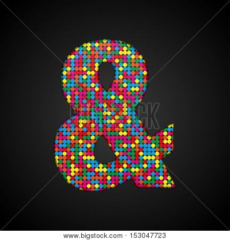 Letters, numbers and symbols in the form of colorful sequins.