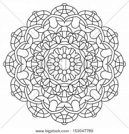 Black and White Vector Mandala. Mandala vector for art coloring book zendoodle. Circle Abstract Object Isolated On White Background.