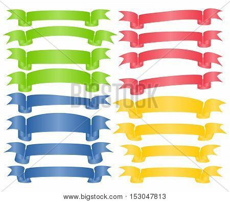 Set of Colorful Empty Ribbons And Banners with Curves. Ready for Your Text or Design. Isolated vector illustration.