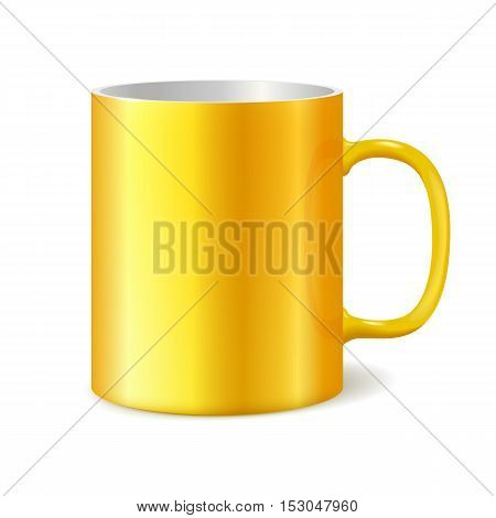 Yellow cup isolated on white background. Blank cup for branding. Photorealistic vector template