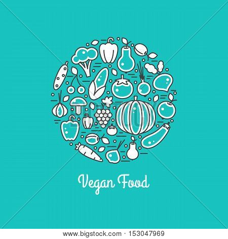 Vegan food vector set. Harvest illustration in line style. Farm nature healty fresh vegetables. Organic fall banner. Autumn festival.