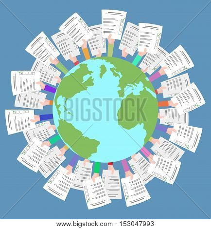 Vector flat illustration with planet earth and human hands with ballots. Democratic elections