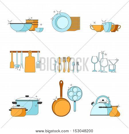 Vector crockery set. Kitchen dish line design icons. Graphic tableware elements. Cooking equipment illustration. Chef collection isolated. Cutlery sign background