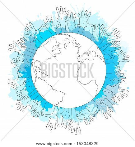 Contour illustration of planet earth human hands and watercolor splashes. Elections
