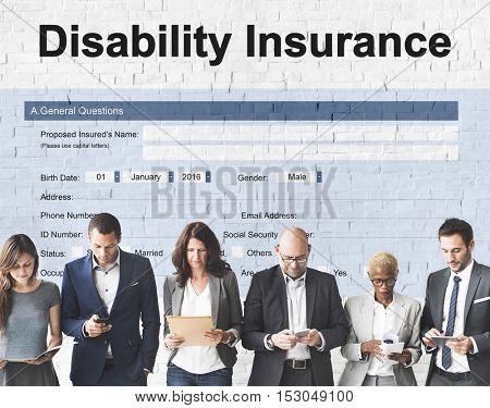 Disability Insurance Claim Form Document Concept