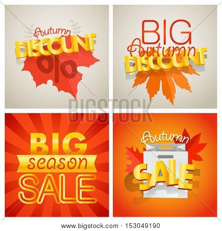Season sale banners set. Different sale banners vector collection