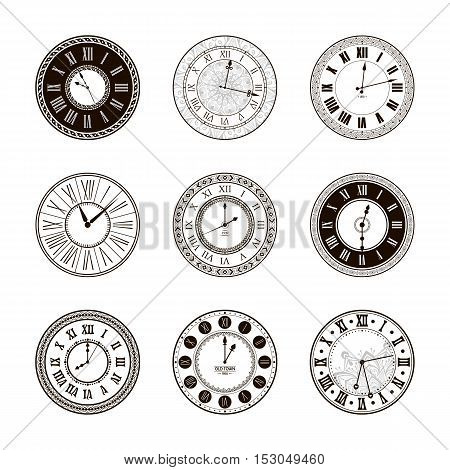 Vector vintage clock dials set. Classic antique watch isolated. Ancient retro timer design. Traditional silhouette. Old graphic timer object design. Elegant collection