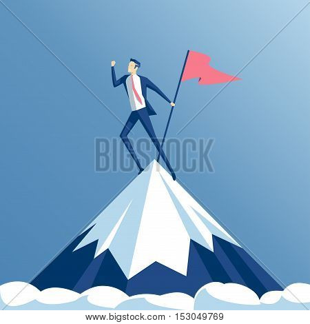 Businessman climbed to the top of the mountain and enjoys victory. Employee hoisted to the peak of the flag and rejoice success business concept