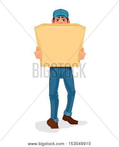 Vector illustration man carries a cardboard box