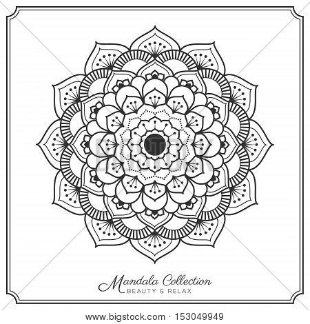 mandala decorative ornament design for coloring page greeting card invitation tattoo yoga and spa symbol. Vector illustration