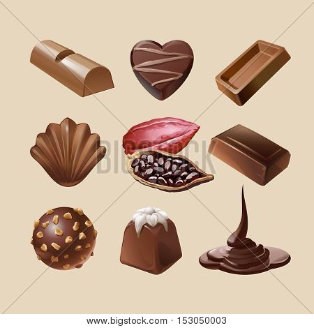 Set of vector icons of chocolate, liquid chocolate and cocoa beans