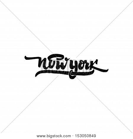New York - Badge drawn by hand, using the skills of calligraphy and lettering, collected in accordance with the rules of typography.