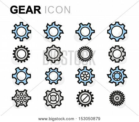 Vector ftp line gear icons set on white background