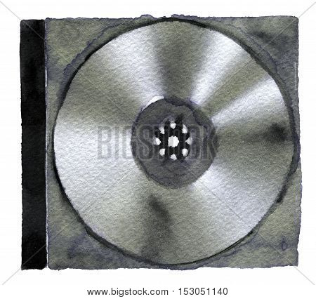 watercolor sketch of DVD or CD disc on white background