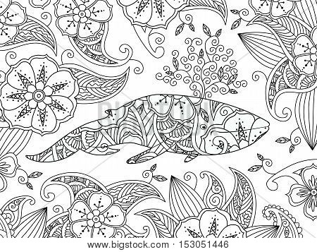 Coloring page with ornate whale on flower background. Horizontal composition. Coloring book for adult and children. Editable vector illustration.