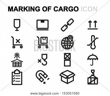 Vector black line marking of cargo icons set on white background