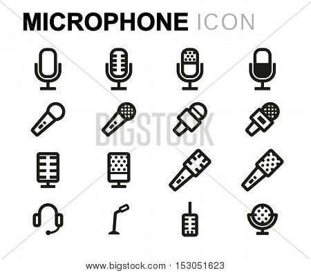 Vector black line microphone icons set on white background