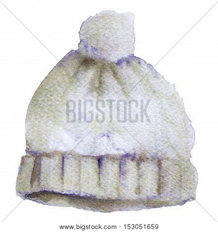 watercolor sketch of winter hat on white background