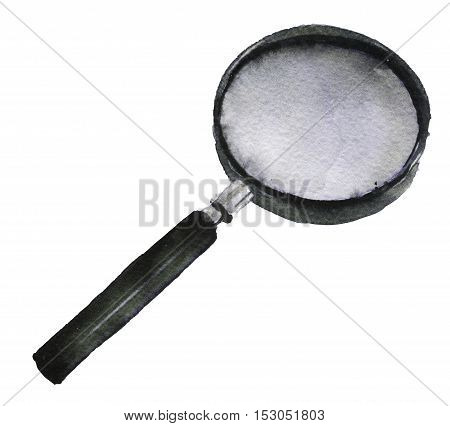 watercolor sketch of Magnifying on white background