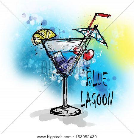 Hand drawn illustration of cocktail. BLUE LAGOON