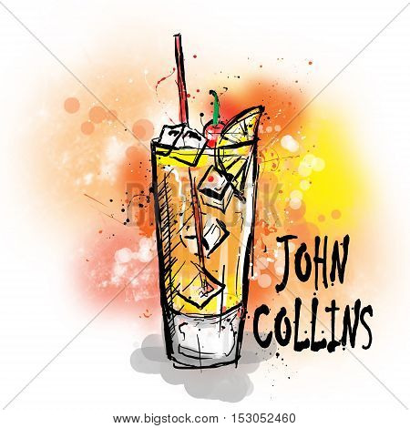 Hand drawn illustration of cocktail. JOHN COLLINS